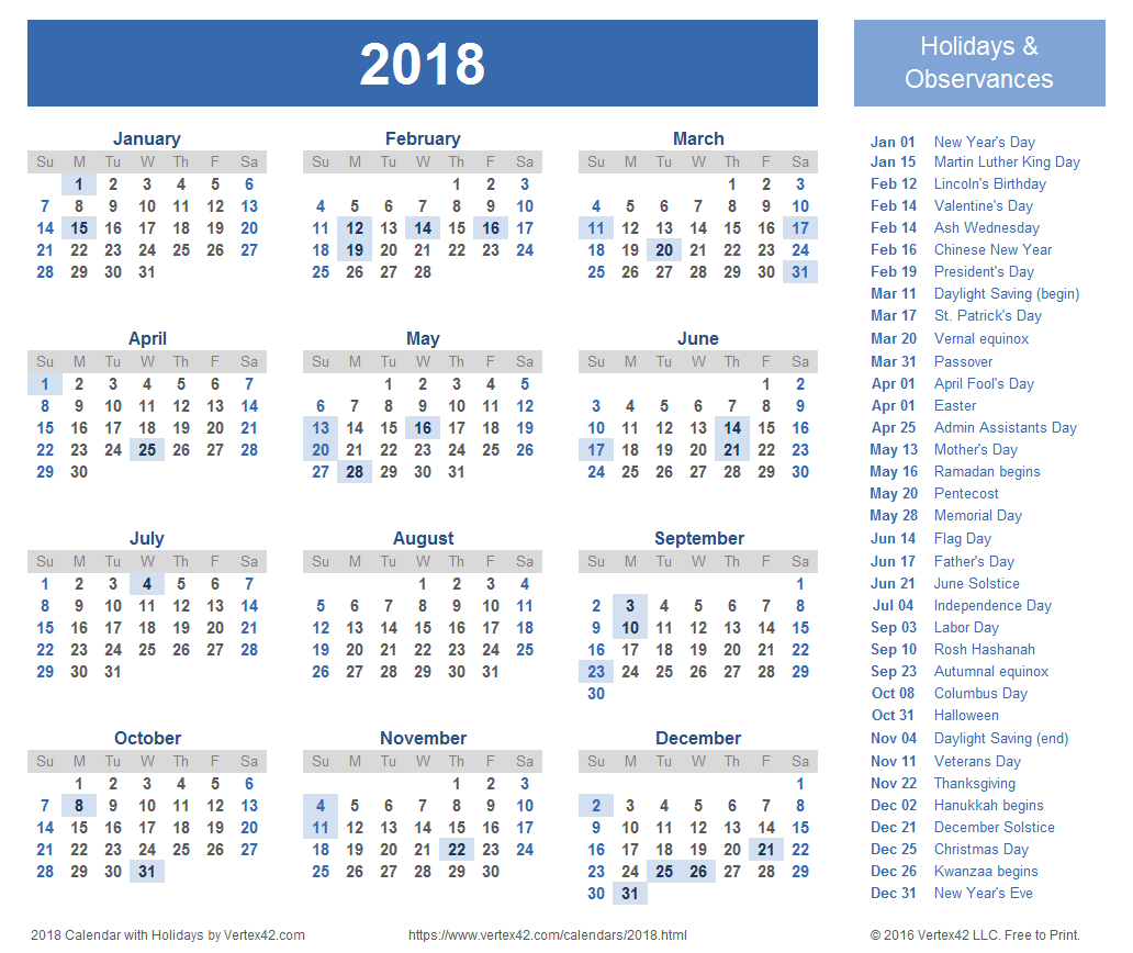 Download free printable 2018 Calendar Templates that you can easily edit and print using Excel. Use our Yearly 2018 Calendar Images on your website.
