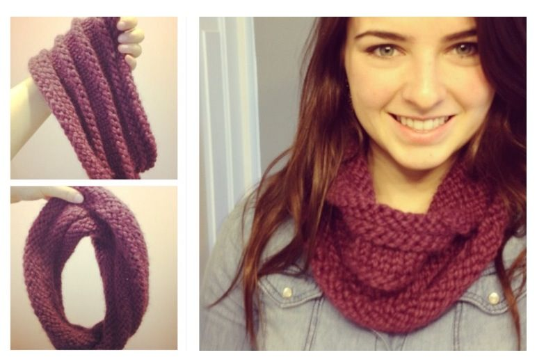Knitted Infinity Scarf On Size 13 Round Needles Cast On 62