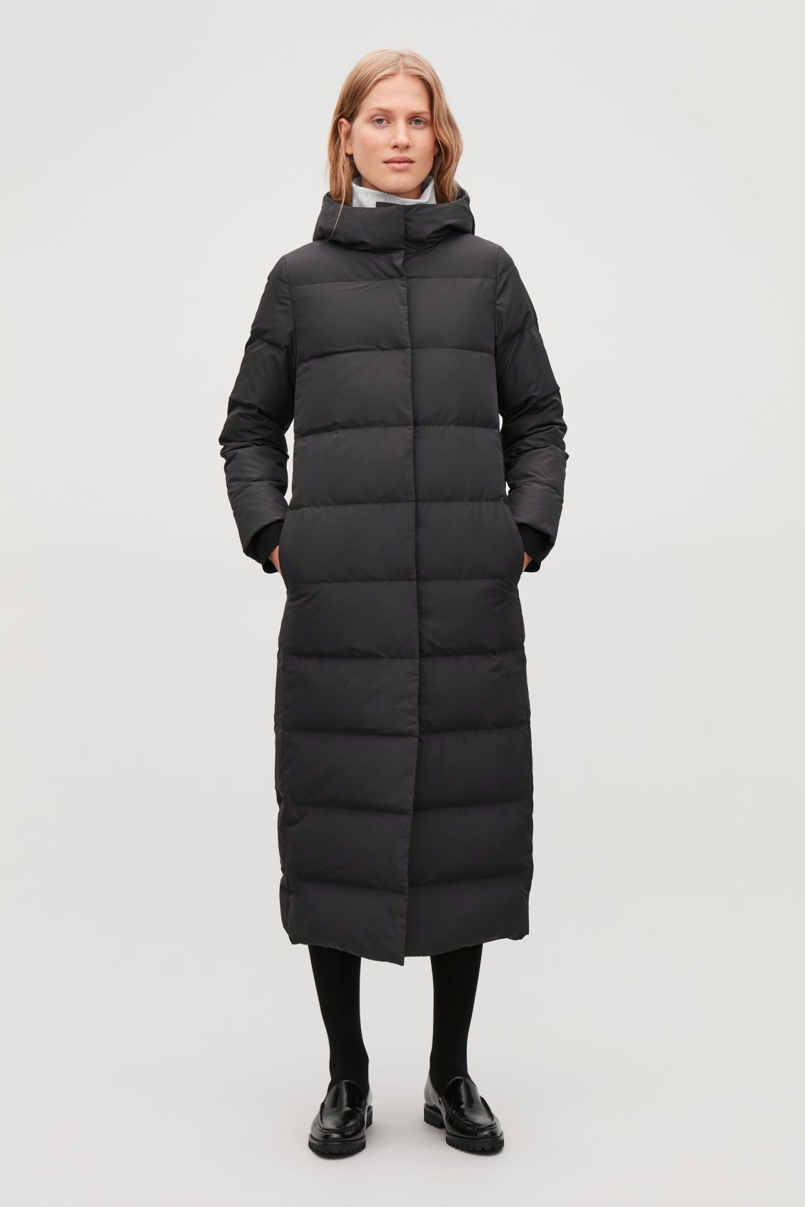 Black Long Cos Coat Coatsamp; Puffer Jackets In Hooded QBeWEdxrCo