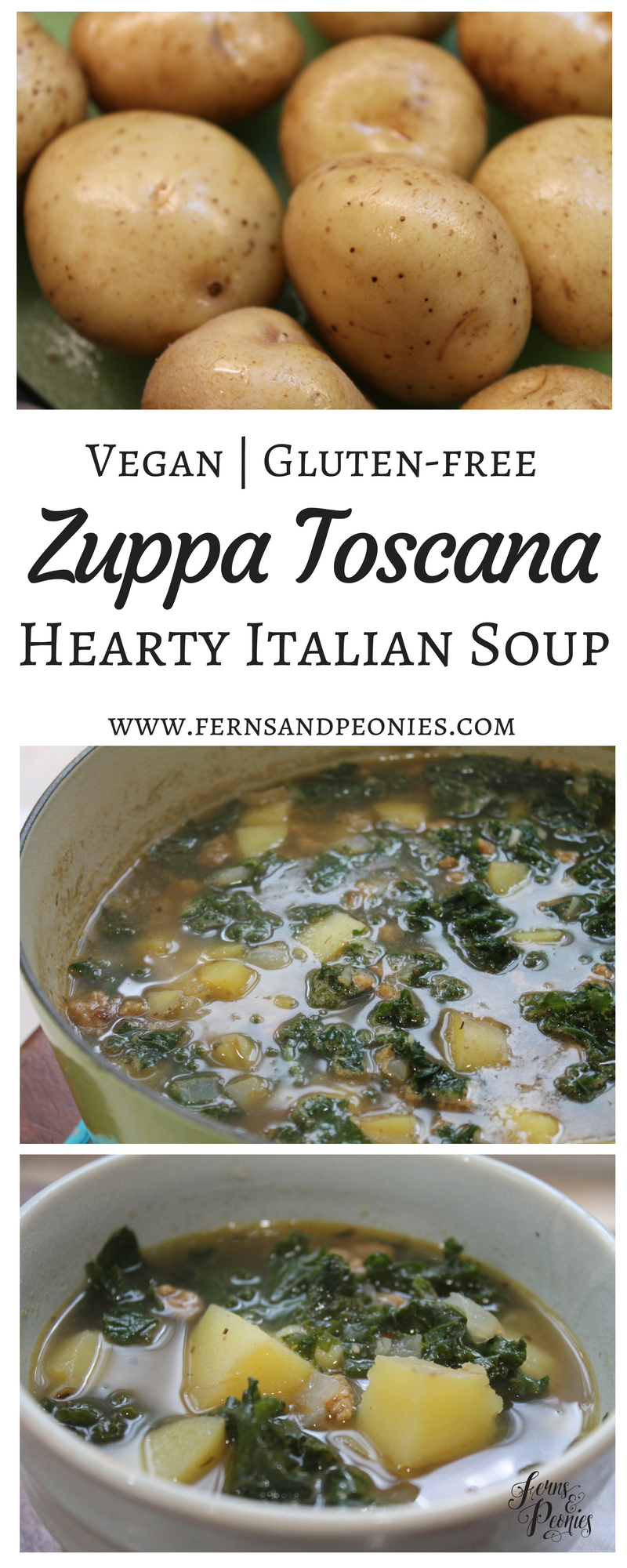 Vegan and Gluten-free Zuppa Toscana—Hearty Italian Soup by www.fernsandpeonies.com