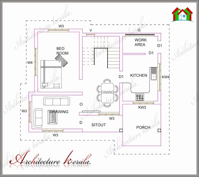 Architecture kerala plan 183 low medium cost house for Low cost per square foot house plans