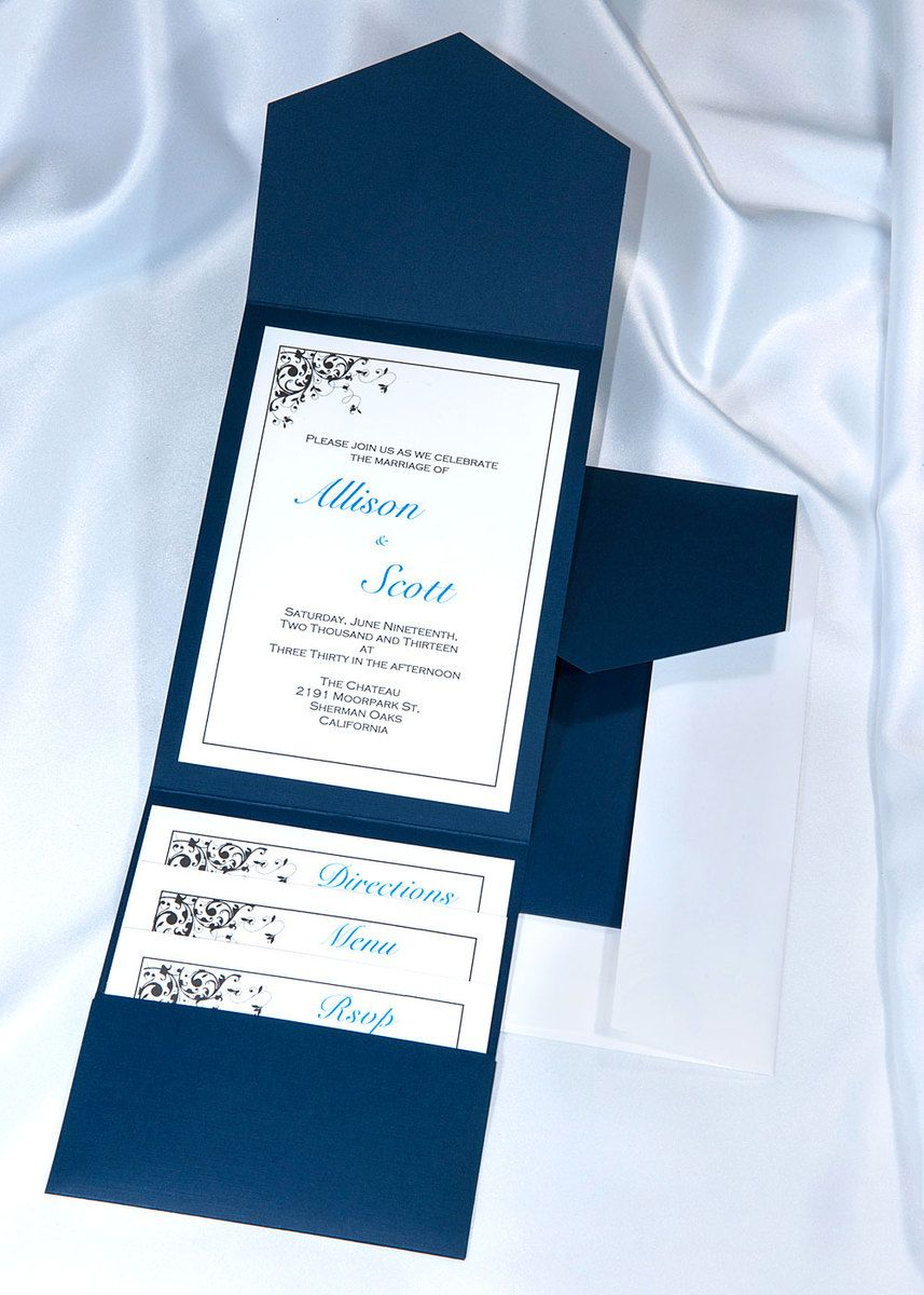Print your own Navy Blue Wedding Invitations