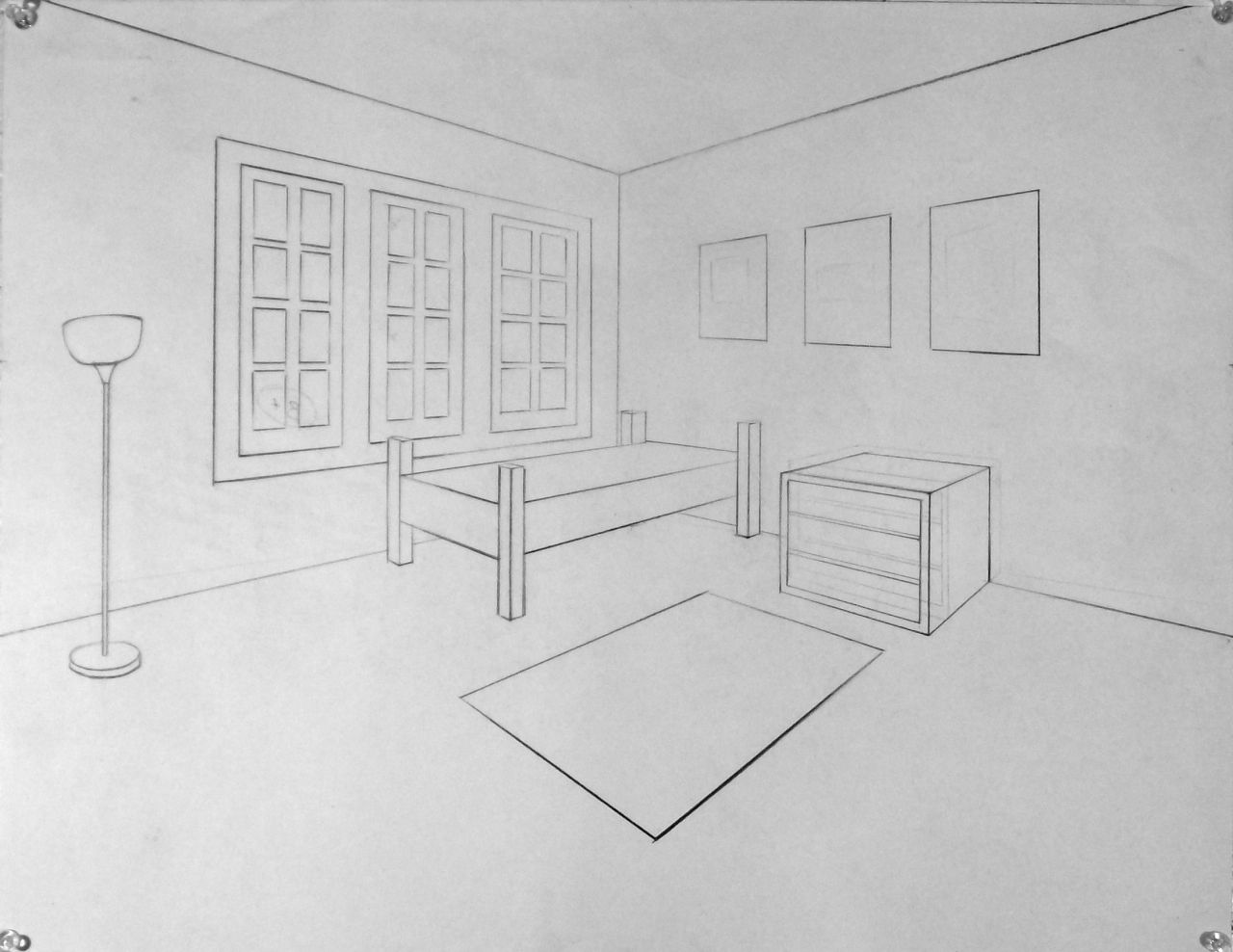 Drawing 2 two point perspective interior examples art for Drawing room interior