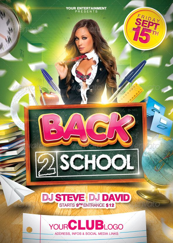 Back 2 School Flyer | Event Flyers, Party Flyer And Logo Images
