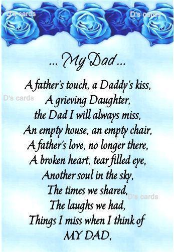 In Loving Memorycardkeepsakegravedaddaddygrandad Ect Fathers