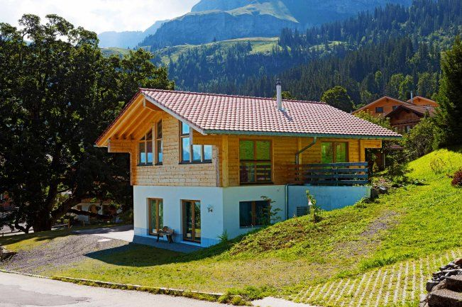 Modernes holzhaus  nachhaltige architektur dach begrünung rasen grüne architektur ...