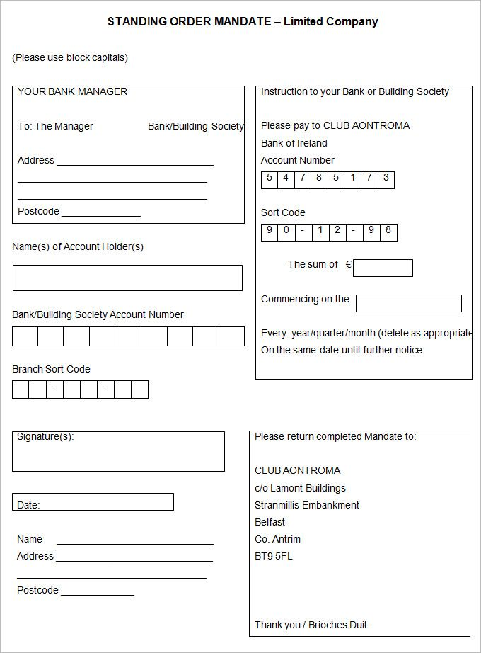 sample standing order template examples letter get evidence Home - Account Form Template