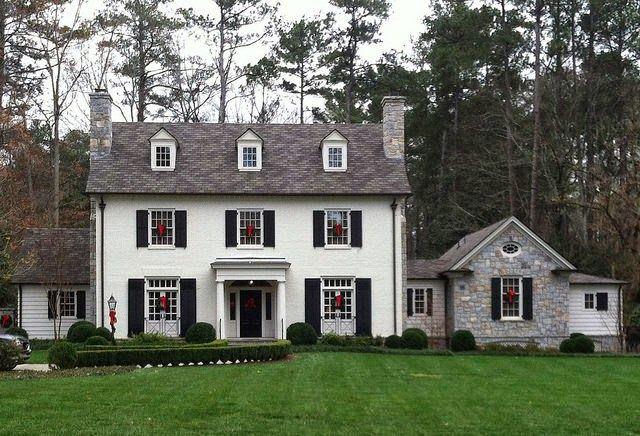 A Classic White House Black Shutters Brick Exterior House Colonial House Exteriors Facade House