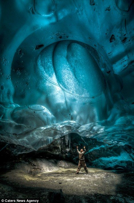 #Alaska, Ice Caves under Mendenhall Glacier, #Juneau: Spectacular photos at the link ... Photographer looks up into the moulon, a hole that leads straight up to the surface and is created by melting water pouring down to floor of the glacier.