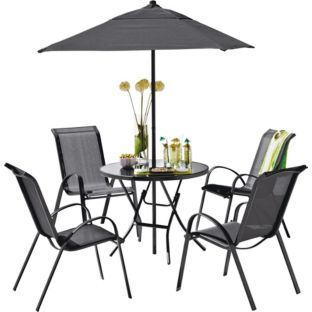 buy sicily 4 seater patio furniture set black at argoscouk