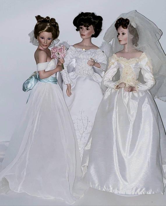 Set of 3: Sandra Bilotto Porcelain Bride Doll, Winter Romance Porcelain Bride Doll The Ashton-Drake Galleries Wedding Bride Porcelain Doll