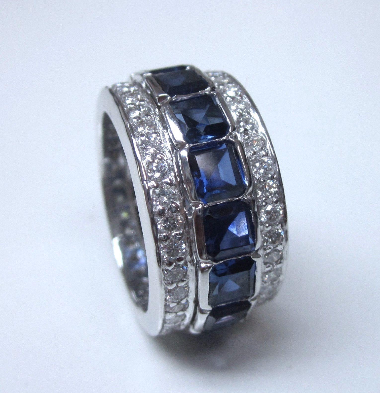 7.06ct Diamond Sapphire Eternity Wedding Ring Platinum