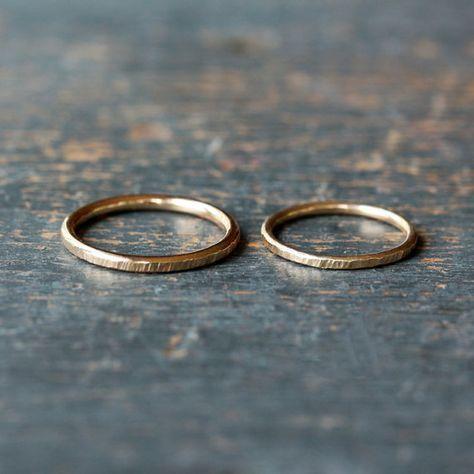 Seine und ihre Hochzeit Band Set, zwei gehämmert Gold Ringe, solide 14 k Gelbgold Eheringe