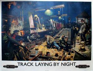 laying British railways by night track