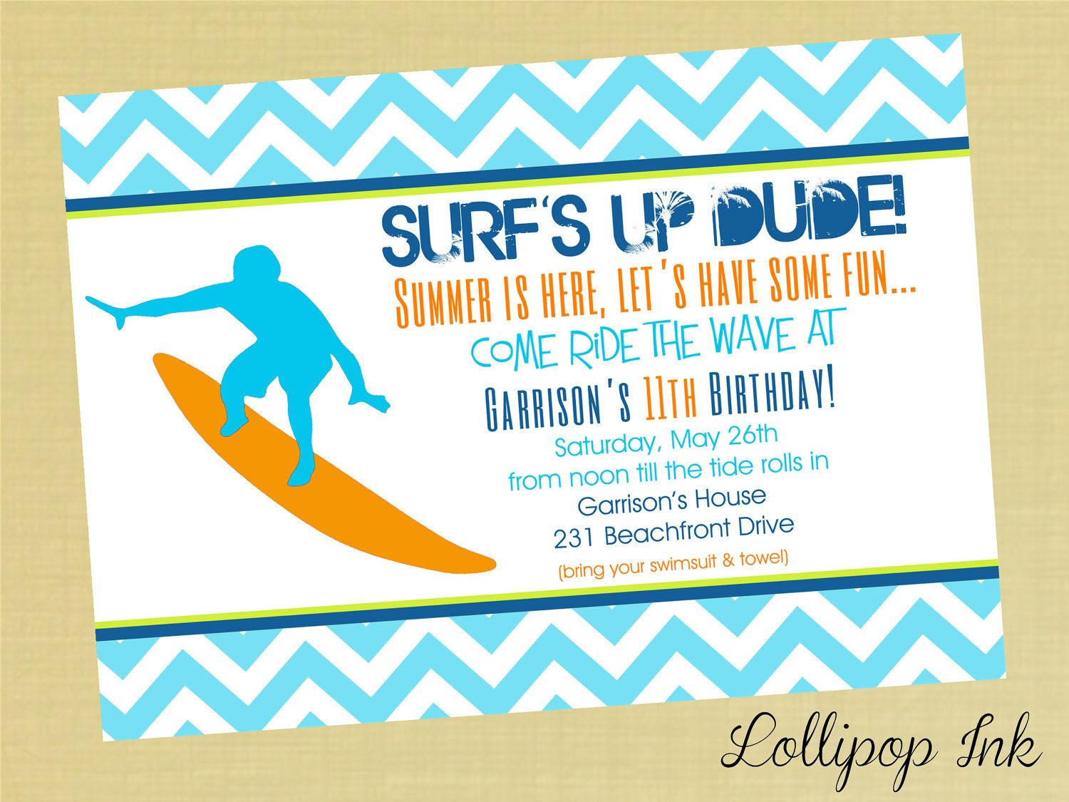 Surfing Summer Printable Invitation, Surfs Up Personalized Birthday ...