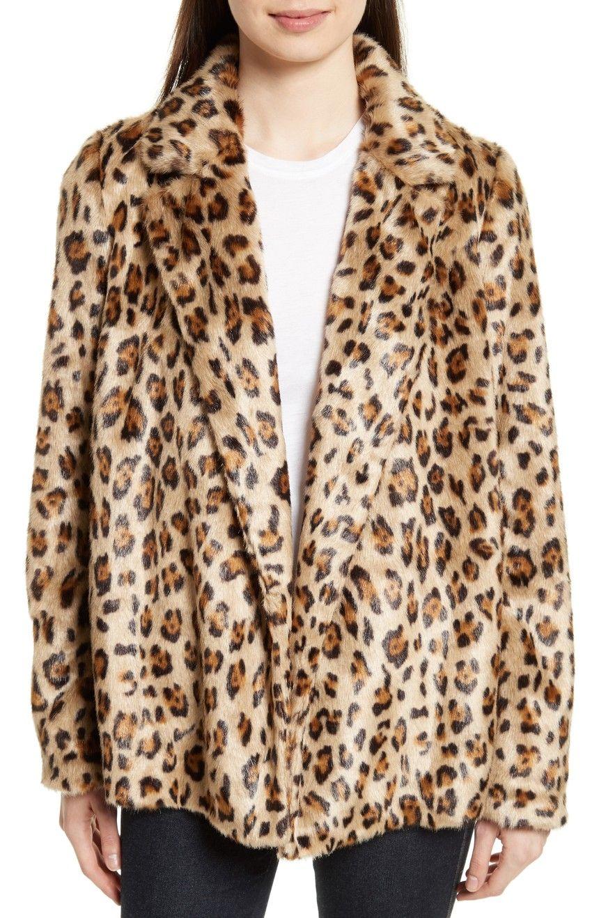 cd4db763e0 Main Image - Theory Clairene Leopard Print Faux Fur Coat   Fashion ...