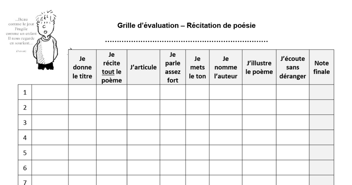 Grille De Recitation Doc Elementary Schools Words Word Search Puzzle