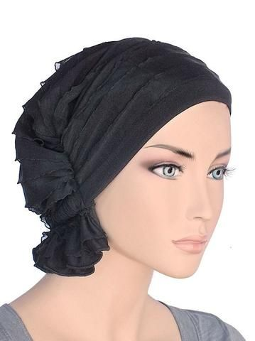 Turban Plus The Abbey Cap in Ruffle Fabric Chemo Caps Cancer Hats for Women