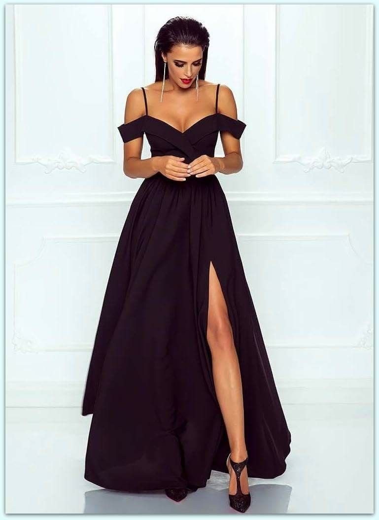 Pin By Paty Pena On Prom Dress Black Evening Dresses Satin Prom Dress Black Prom Dresses