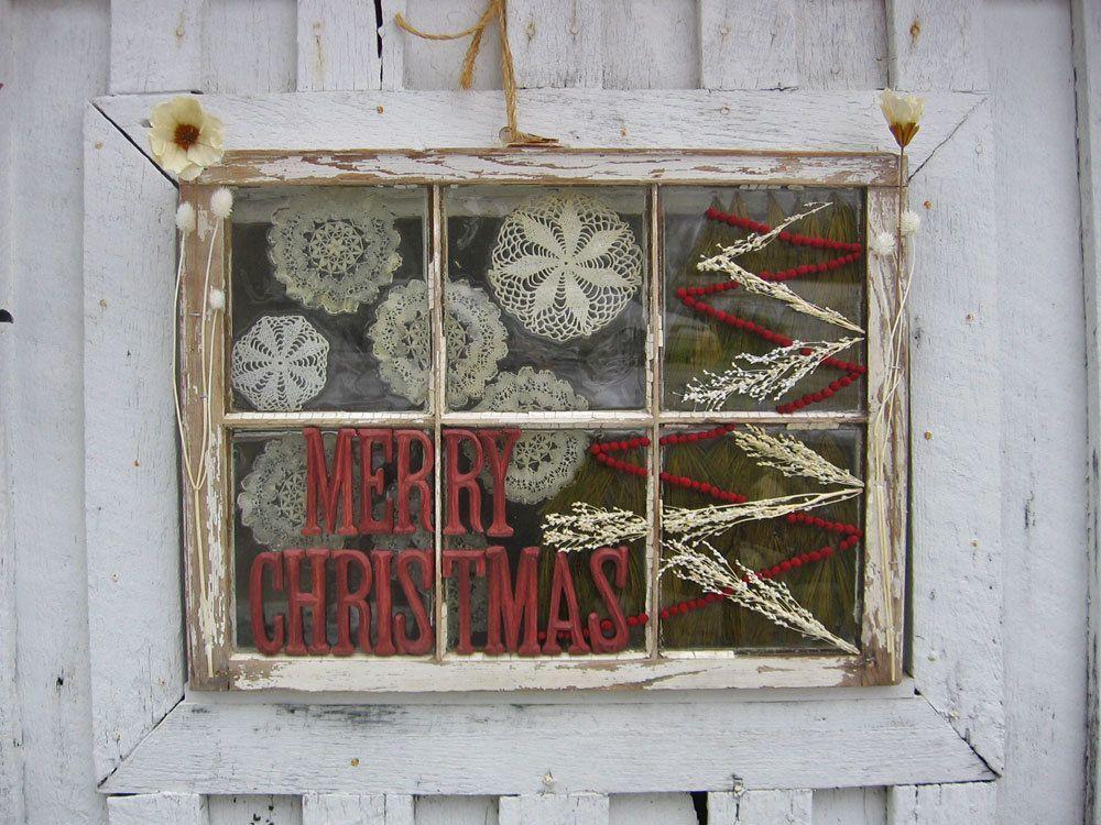 Old Window Frame Holiday Decor $10000, via Etsy