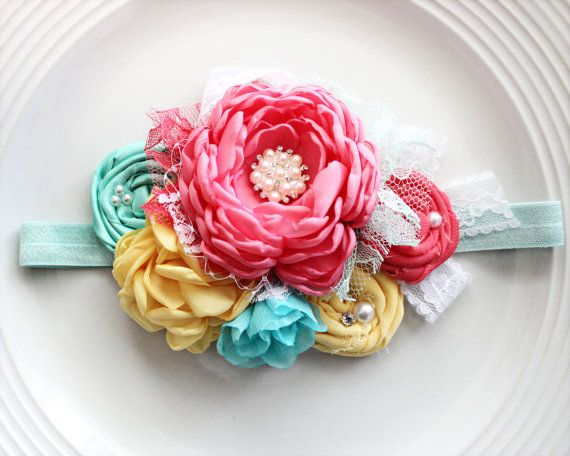 This is a beautiful spring/summer piece! My inspiration for this headband came from Gymborees Rainbow Neon Striped dress. All handmade