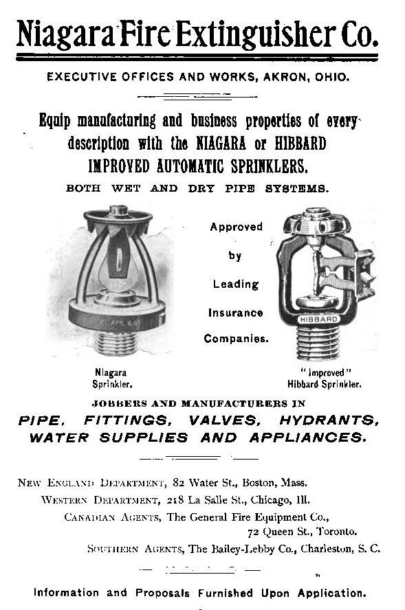 Advertisment for Niagara Automatic Fire Sprinklers, late
