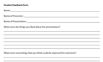 Presentation Student Feedback Form  Students