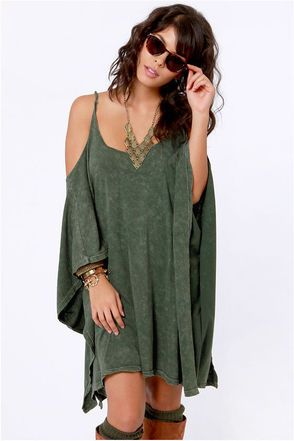 Check it out from Lulus.com! LuLu*s Exclusive! End your search for the hippest cold-shoulder dress with the Fair Play Washed Green Dress! Washed cotton knit gives off a carefree urban vibe as it drapes from short kaftan sleeves and scoop neckline. Strappy racerback. Unlined. Model is wearing a size small. 100% Cotton. Machine Wash Cold. Made with Love in the U.S.A.