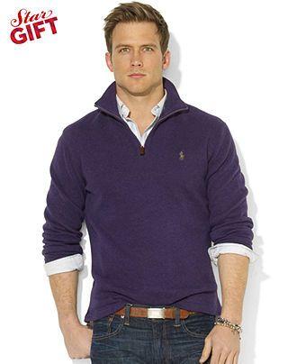 Polo Ralph Lauren French-Rib Half-Zip Mock Neck Pullover - Sweaters - Macy's