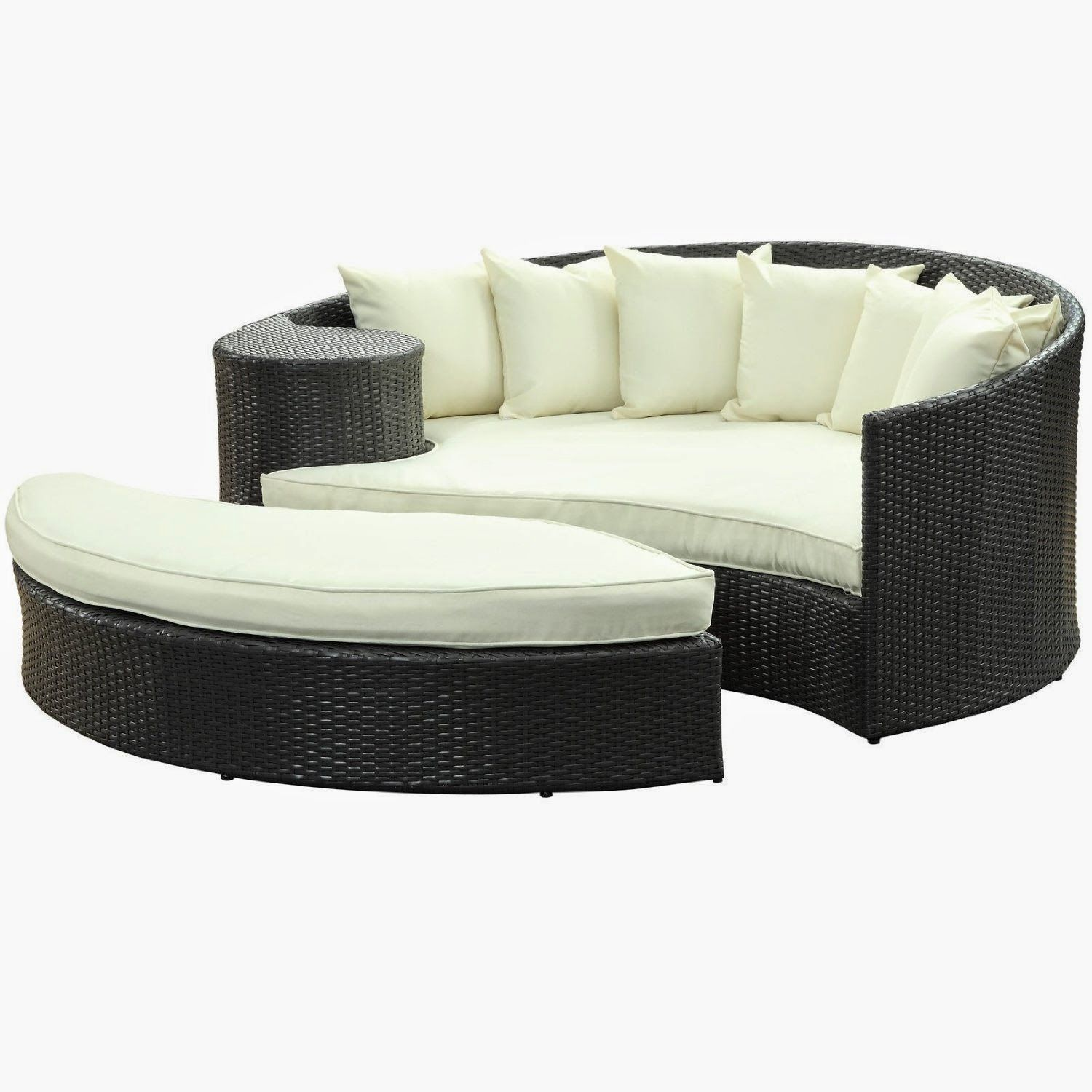 Lexmod Taiji Outdoor Wicker Patio Daybed With Ottoman In Espresso With White Cushions Outdoor Daybed Modern Outdoor Furniture Patio Daybed