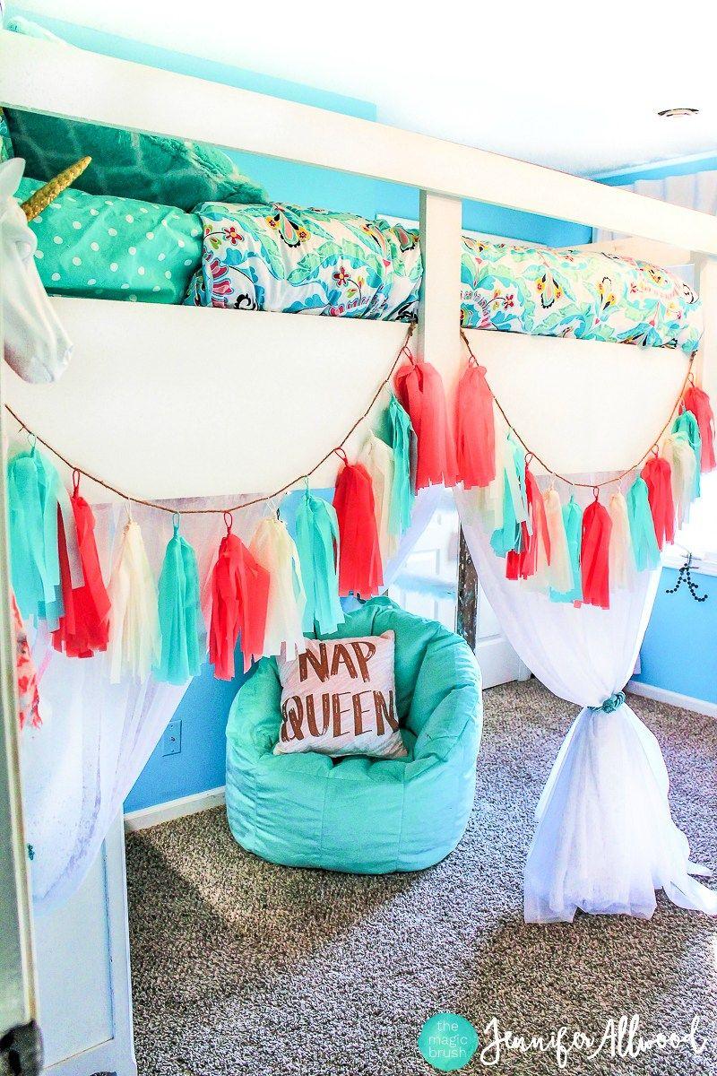 Avas new Blush & Blue Girls Bedroom + Loft Bed