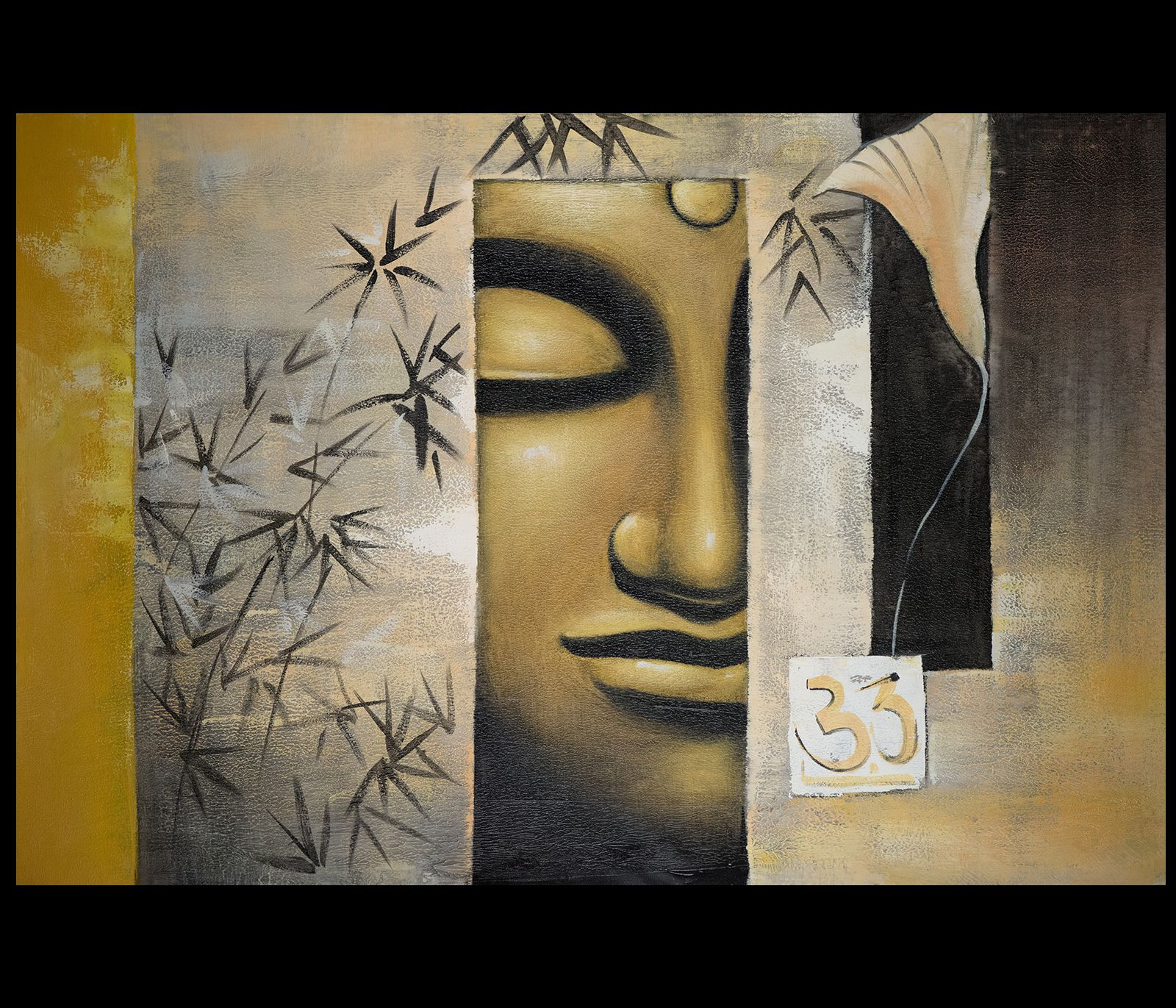 B004Hk8Wz4 Canvas Wall Art Modern Contemporary Abstract Art Framed Feng Shui Buddha (1600 1371)