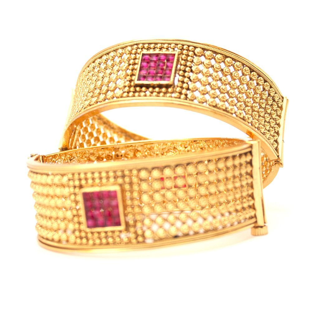 Ethnic indian pakistani gold plated openable filigree bangle set in