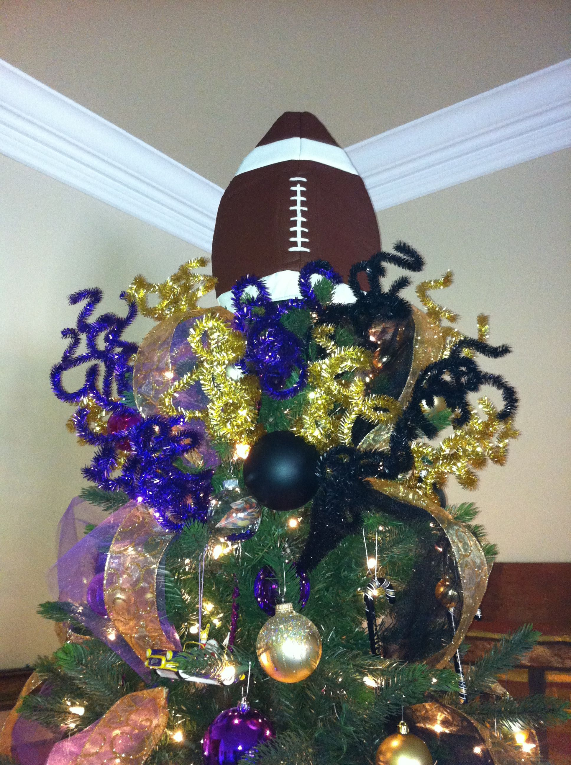 Our Half Lsu Half Saints Football Tree Topper Made With
