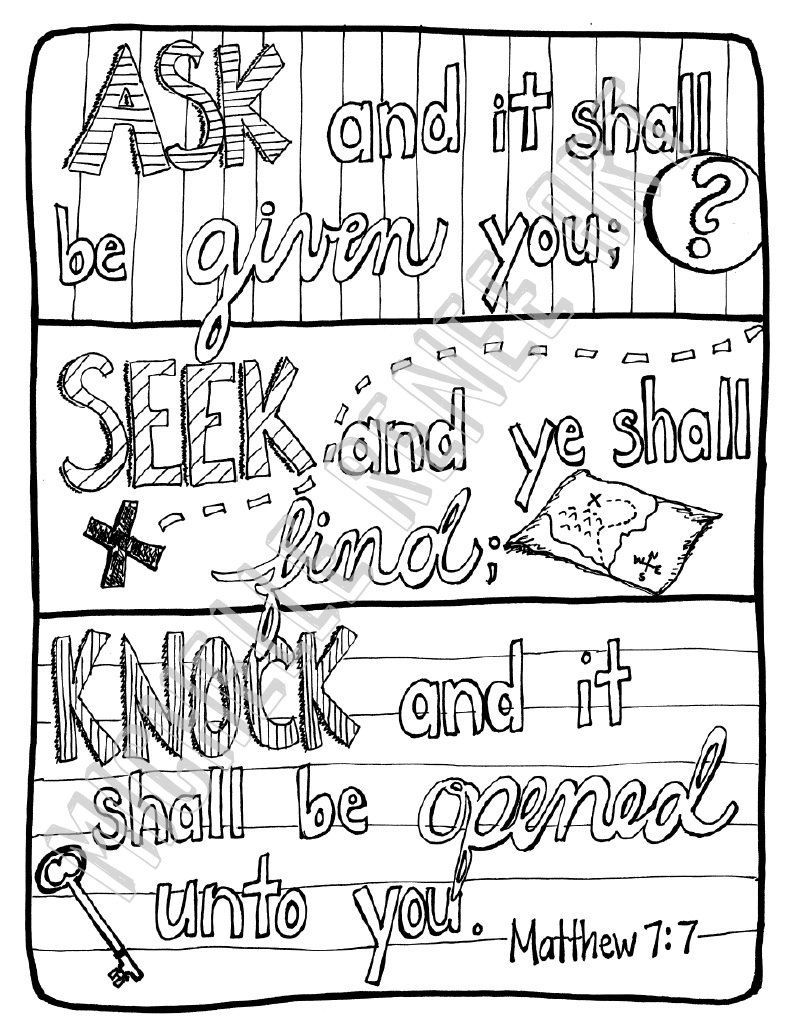 Bible Verse Coloring Page Matthew 7 7 Digital Instant Download By