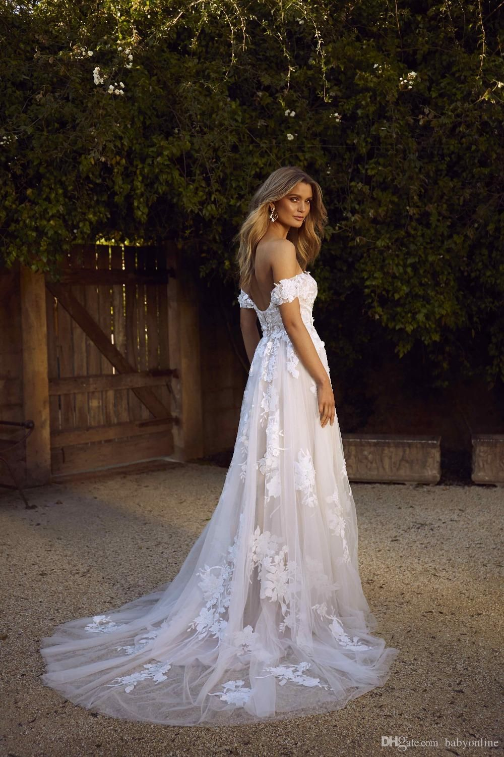 Boho Wedding Dress in 15  Off shoulder wedding dress, Wedding