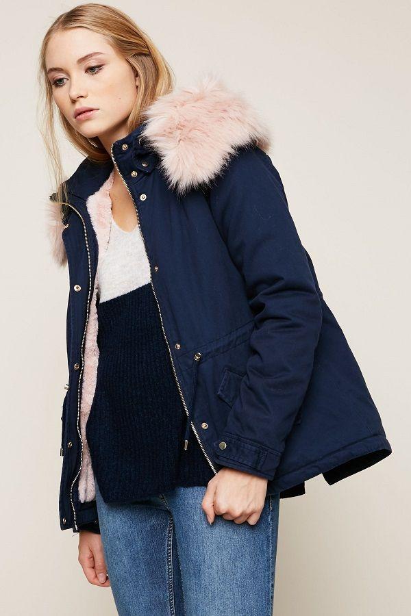 Manteau parka femme bleu marine