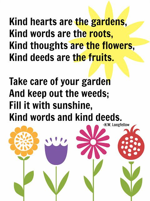 kind hearts are the gardens {free printable} | Flower quotes ...