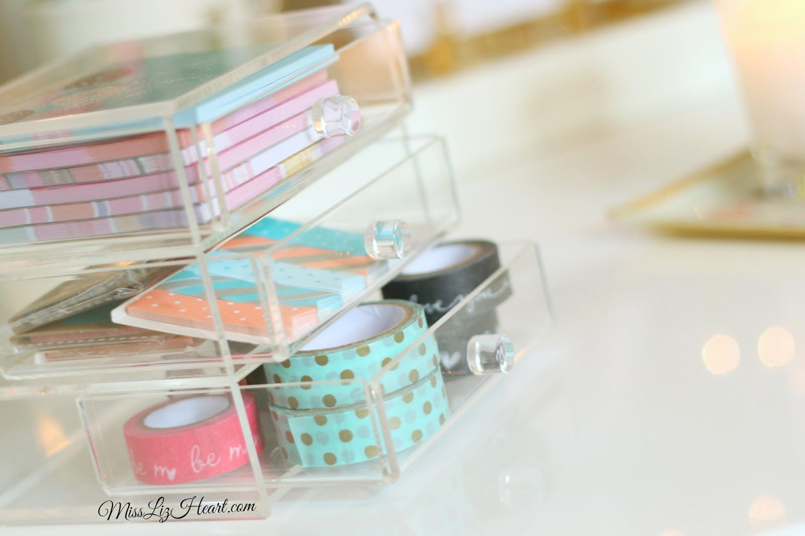 Store planner supplies in acrylic drawers so you can see them!