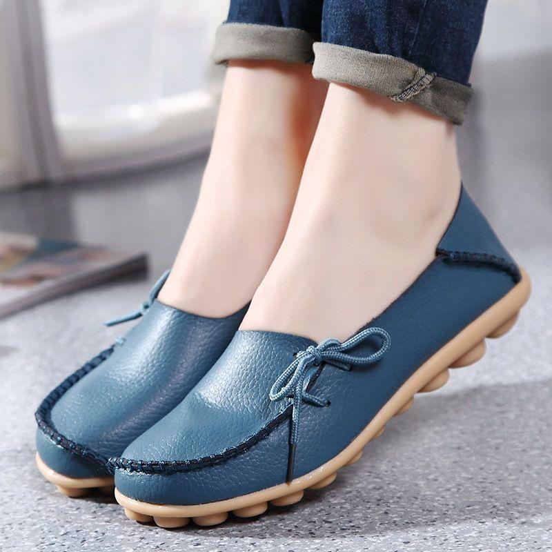 Mujeres Informal antideslizante en mocasines de cuero genuino mocasín  Zapatos sin Taco Barco Oxford e20977c04ad9