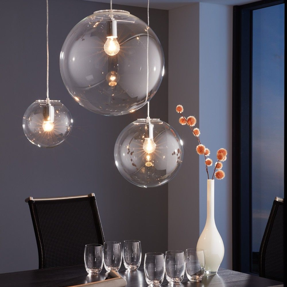 skapetze orb 30 pendelleuchte glaskugel klar chrom. Black Bedroom Furniture Sets. Home Design Ideas