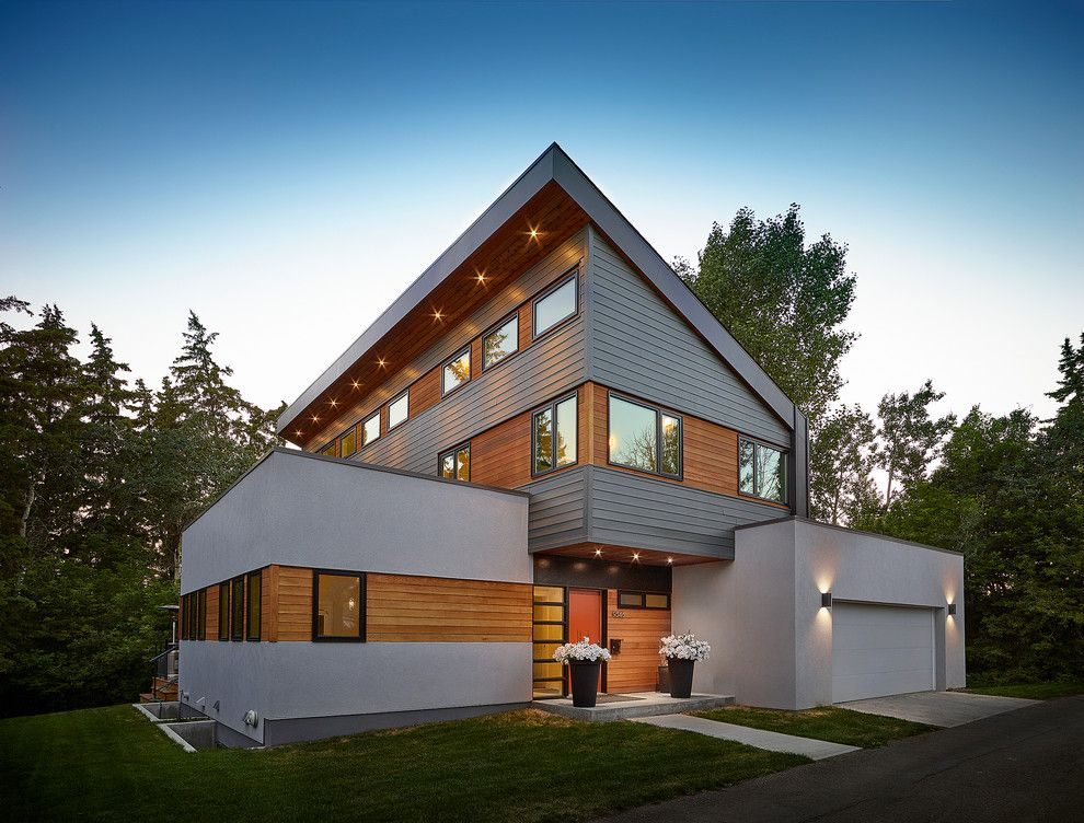 Modern Cedar Siding Exterior Contemporary With Gray Stucco