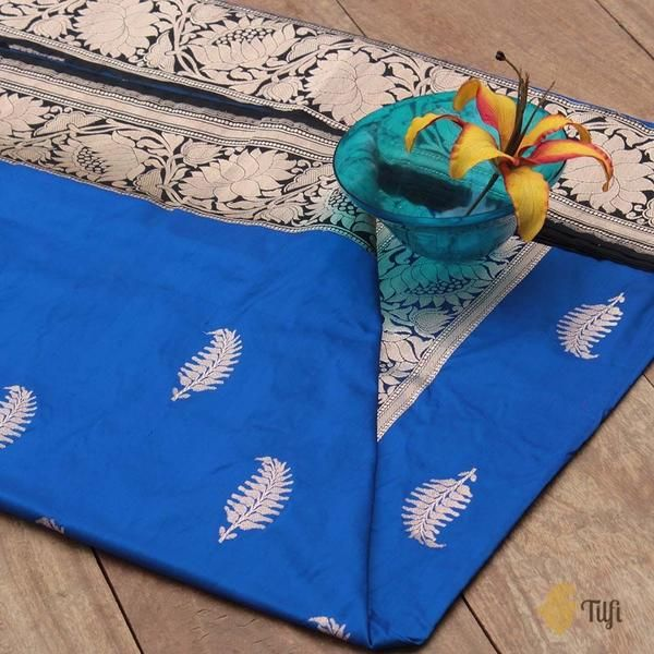 a8d5b9a11d Royal Blue-Black Pure Katan Silk Banarasi Kadiyal Handloom Saree -  Traditional and spectacular as