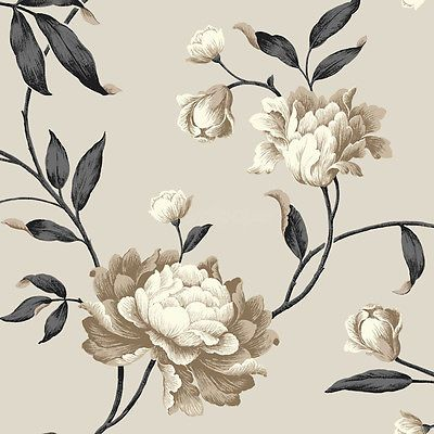 Toile Floral Vine Wallpaper Vine Wallpaper Washable Wallpaper Floral Toile