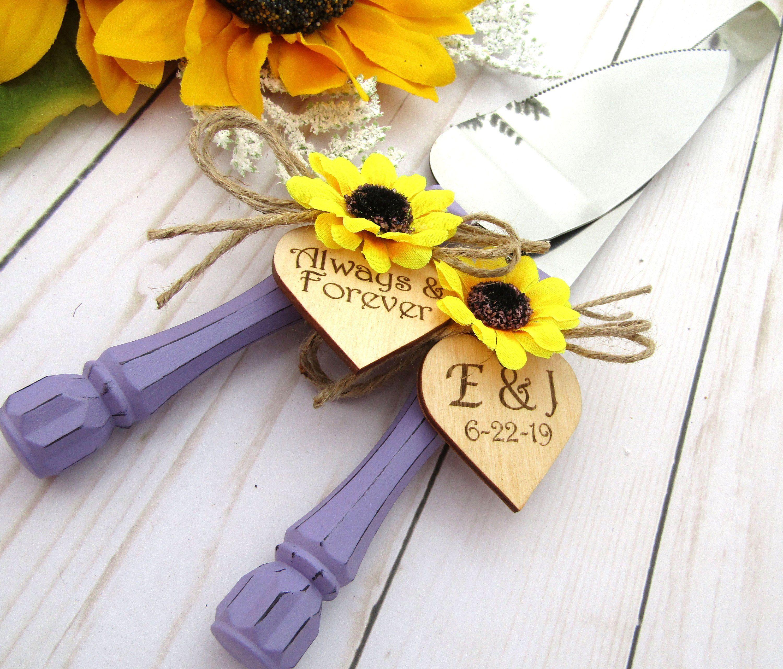 Rustic Sunflower Wedding Cake Server & Knife Set Lavender