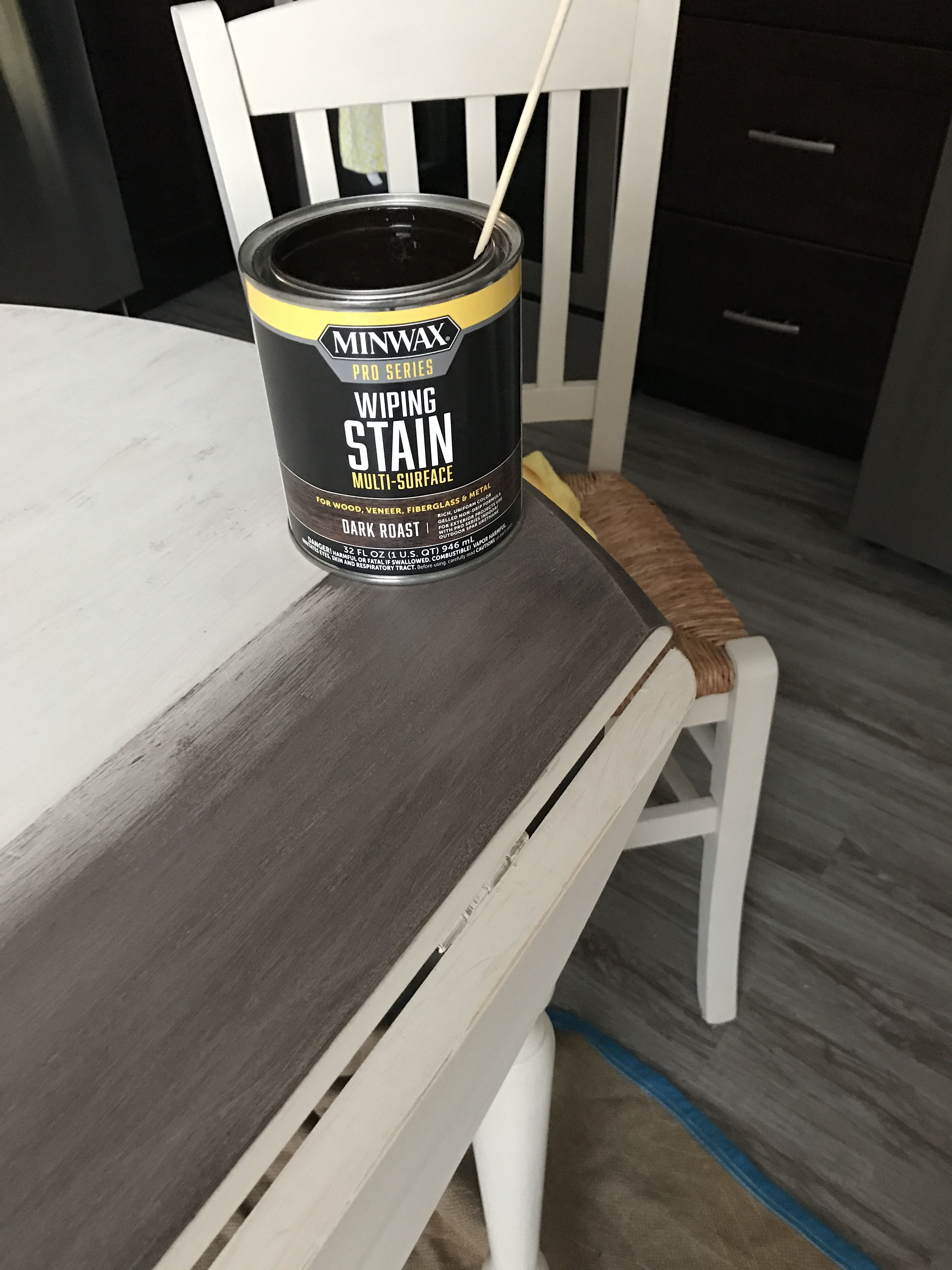Wanted to give my round table a faux wood look used chalk paint