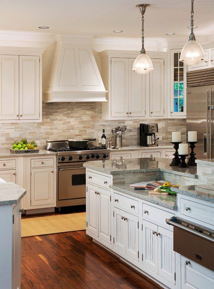 White Cabinet Kitchen Backsplash Ideas: Dc Metro Travertine Backsplash Tile With Stainless Steel