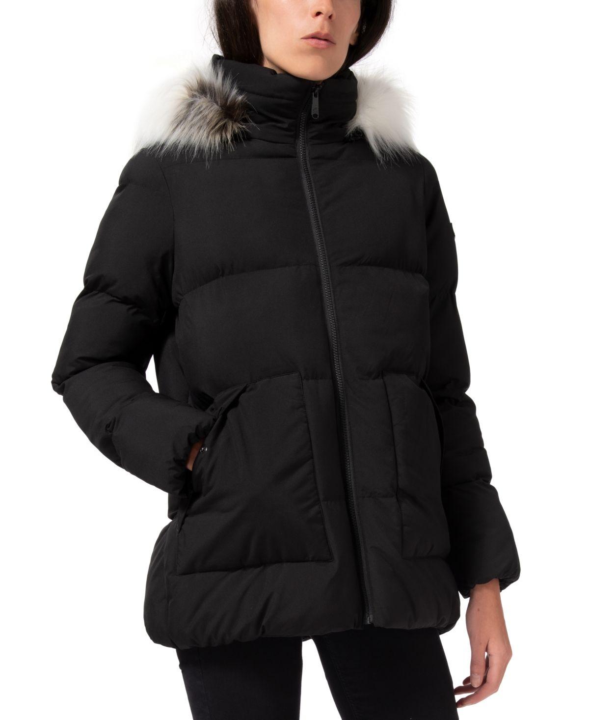 Sam Edelman Faux Fur Trim Hooded Puffer Coat Reviews Coats Women Macy S In 2021 Puffer Coat Coats For Women Fur Hood Coat [ 1466 x 1200 Pixel ]