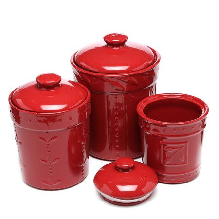 found it at wayfair sorrento 3 piece canister set in ruby red rh pinterest com Pretty Kitchen Canisters Western Cowboy Kitchen Canister Set