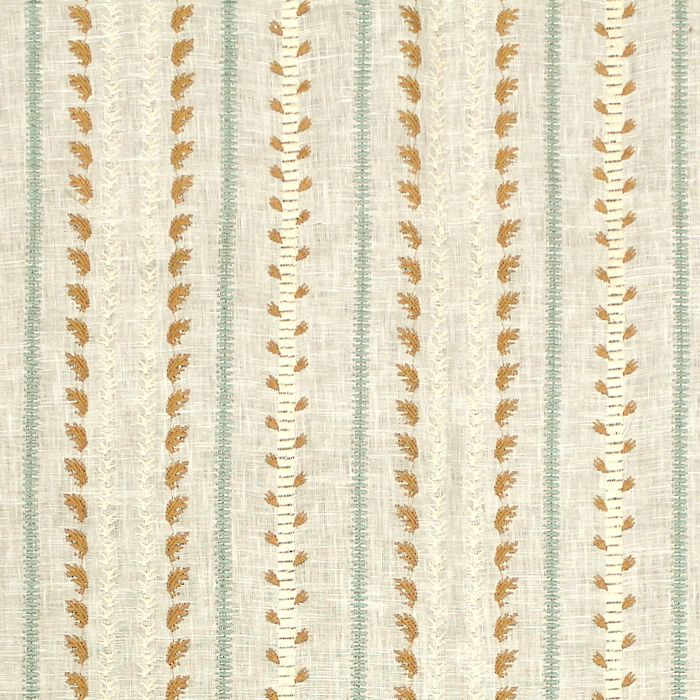 "Kathryn Ireland Embroidery 100% Linen Color: Caramel & Aqua Approx Width: 47 1/2"" Approx Rpt: V. 3/4"", H. 6 5/8"" Dry Clean Only"